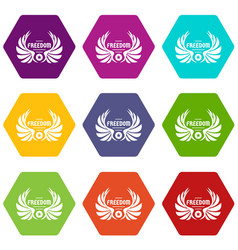 freedom wing icons set 9 vector image