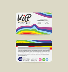 Front And Back Rainbow Stripes VIP Member Card vector
