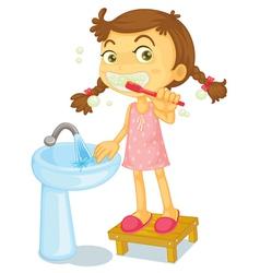 Girl brushing teeth vector