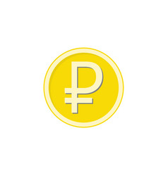 Gold ruble coin flat icon finance and business vector