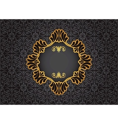 Gold vintage frame on black decorative background vector image