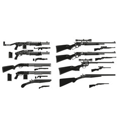 Graphic silhouette shotguns and rifles icons vector