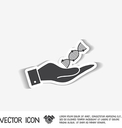 Hand holding a dna helix medical research vector