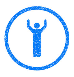 Hands up person pose rounded grainy icon vector