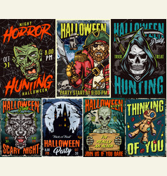 Happy halloween vintage colorful posters vector