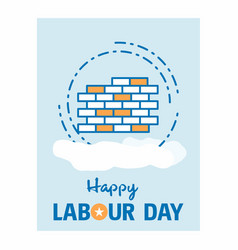 Happy labour day design with vintage theme blue vector