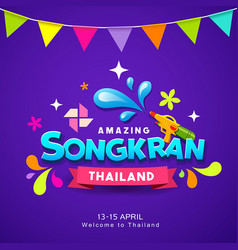 happy songkran thailand festival water colorful vector image