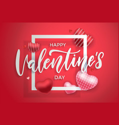 happy valentines day background with balloons 3d vector image