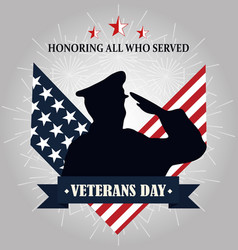 Happy veterans day soldier silhouette on american vector