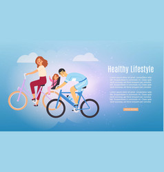 Healthy lifestyle family riding bikes web banner vector