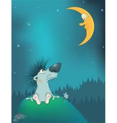 Hedgehog and the moon Cartoon vector