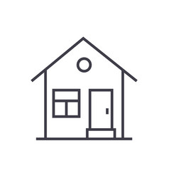 house with door line icon sign vector image