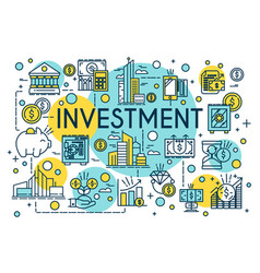 Investment concept thin line style business vector
