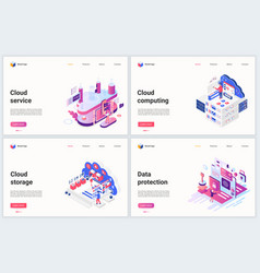 isometric cloud data storage technology vector image