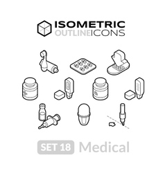 Isometric outline icons set 18 vector image