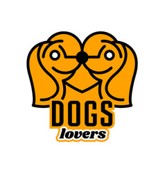 logo on pets heart dogs head in profile vector image