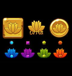 Lotus icon cartoon style gold lotos vector