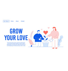 Love romantic relation charity acts landing page vector