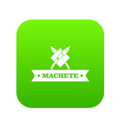 Machete icon green vector
