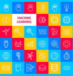 Machine learning line icons vector