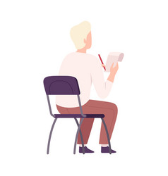 Male student sitting on chair in class back view vector