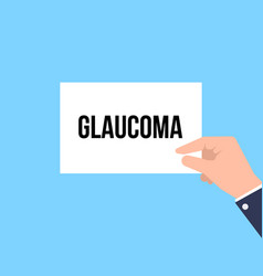 man showing paper glaucoma text vector image