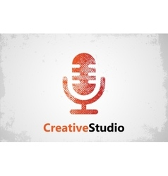 microphone logo music studio logo design vector image