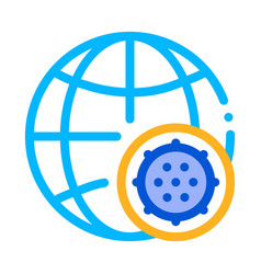microscopic bacterium and planet sign icon vector image