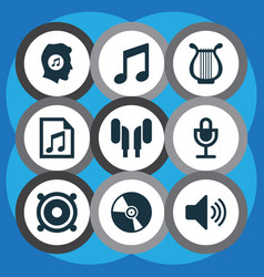 music icons set with headset microphone speaker vector image