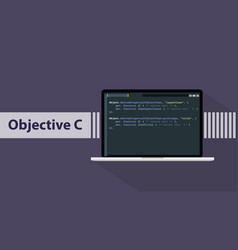 objective c programming language with script code vector image