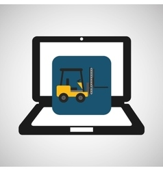Online delivery concept forklift truck cargo vector