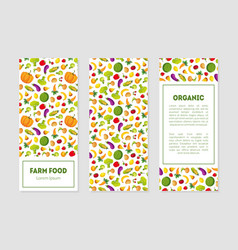 organic farm food banner templates set with fresh vector image