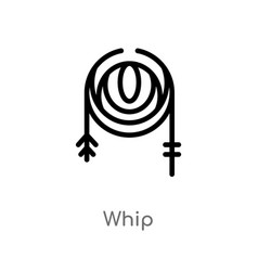 Outline whip icon isolated black simple line vector