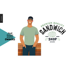 Owners - small business graphics - sandwich shop vector