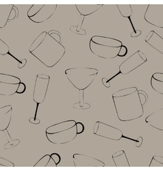 Pattern with crockery vector image