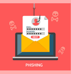 Phishing login and password on fishing hook vector