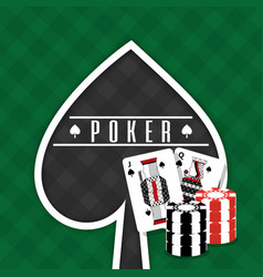 poker sign spade cards and chips gamble green vector image