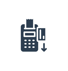 pos terminal with receipt inserted credit card vector image