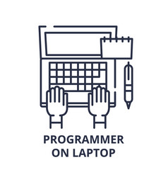 programmer on laptop line icon concept programmer vector image