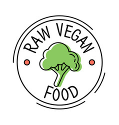 raw vegan food label line style logo with green vector image