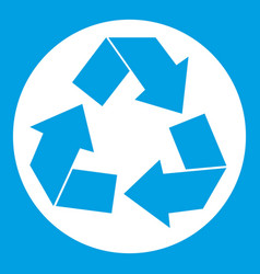 recycle sign icon white vector image