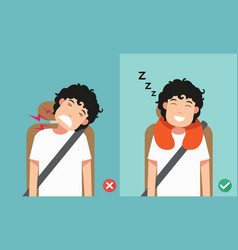 Right posture to sleep while sitting upright vector