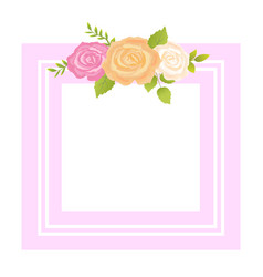 Rose pink orange beige flower photo frame greeting vector