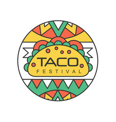 Round emblem with mexican traditional street food vector