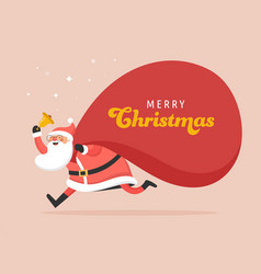Santa claus with a huge bag gifts delivery vector