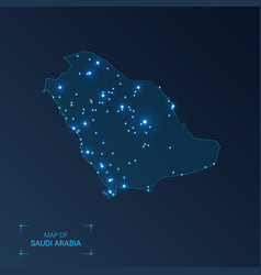Saudi arabia map with cities luminous dots - neon vector