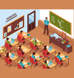 School classroom lesson isometric poster vector