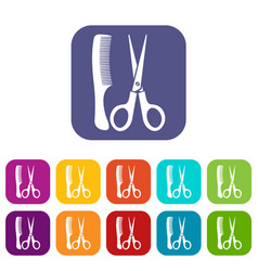 Scissors and comb icons set vector