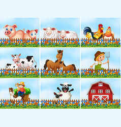 set farming scene vector image