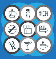 Set of 9 eating icons includes stick batbecue vector